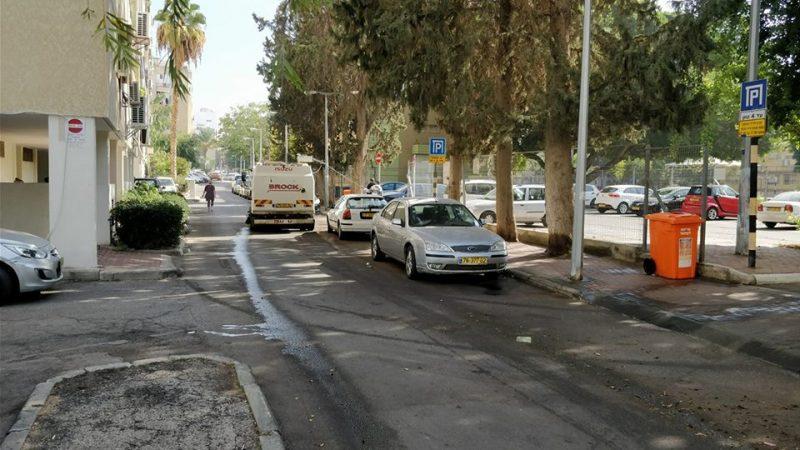 רחוב יצחק שדה בזמן הניקיונות