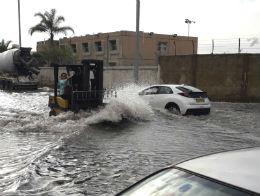 הצפה חורף באזור התעשיה החדש ראשון לציון