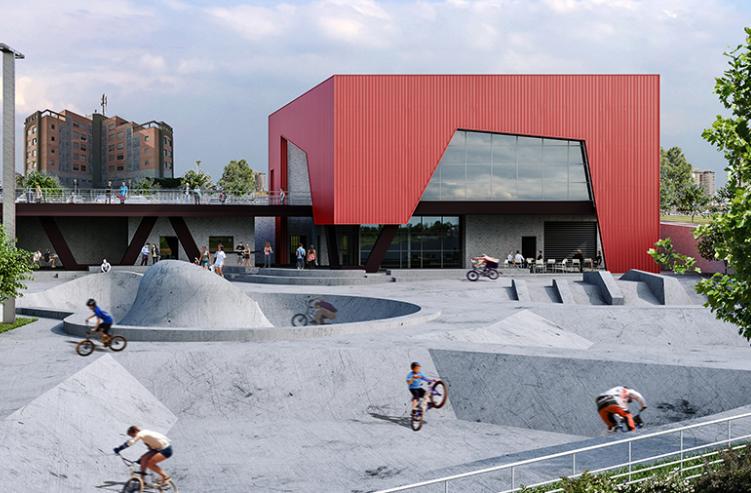 הדמייה של פארק האופניים (הדמייה: V5 אדריכלים)