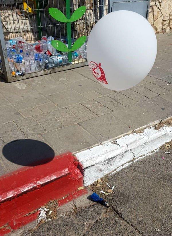 הבלון שנחת בבת ים ונחשד בתחילה כבלון חבלה