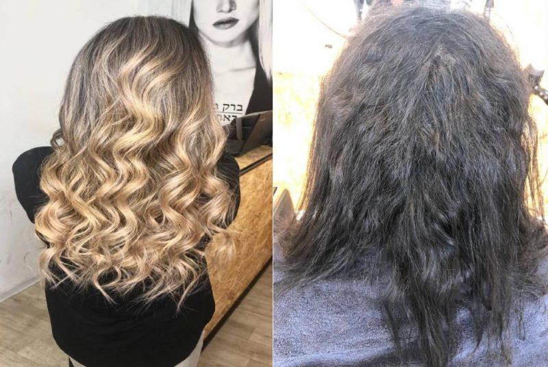 לפני ואחרי שיקום השיער (צילום עצמי)